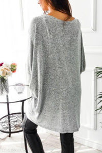 Asymmetric Neck  Snap Front  Plain Cardigans gray l