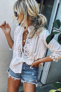 High Neck  Single Breasted  Patchwork Plain Blouses white s