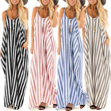 Women Causl Sleeveless Striped Patchwork Sling Maxi Dress