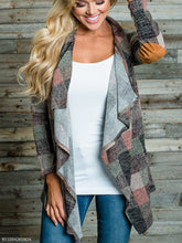 Asymmetric Neck Gingham Casual Cardigans
