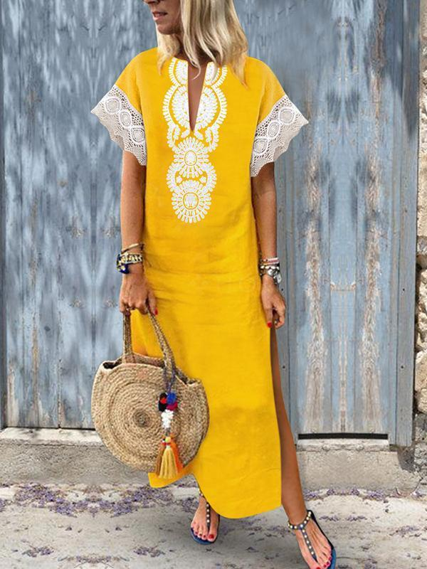 Fashion Cotton\/Line Lace Causal Vintage Dress Maxi Dress yellow l