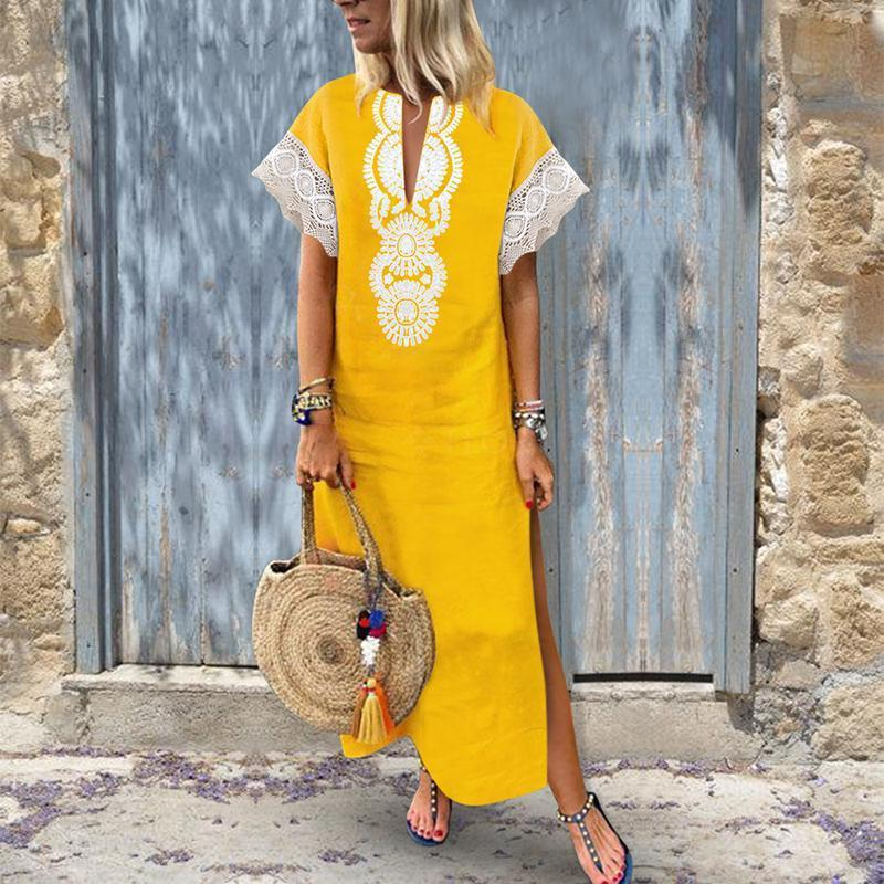 Fashion Cotton\/Line Lace Causal Vintage Dress Maxi Dress yellow m
