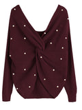 Loose Backless Irregular Cross Pearl Knit Sweater black one size
