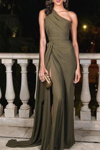 Sexy Plain Slim Off Shoulder Fork Evening Dress army_green s