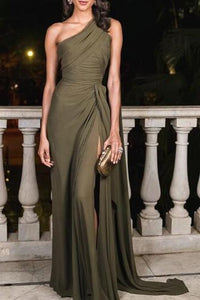 Sexy Plain Slim Off Shoulder Fork Evening Dress army_green 2xl