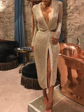 Temperament Cardigan Slim Evening Dress Rose Gold s