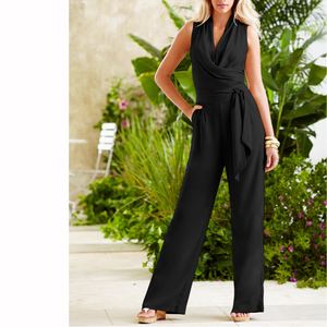 Fashion V Collar Plain Belt Jumpsuit black l