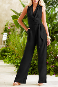Fashion V Collar Plain Belt Jumpsuit black s