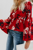 Fashion Deep V Collar Floral Printed Shirt red s