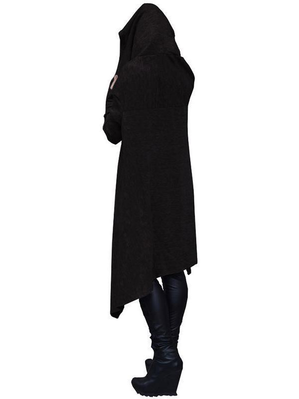 Solid Color Irregular Long Hooded Sweater dark_grey s