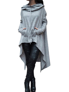 Solid Color Irregular Long Hooded Sweater dark_grey 4xl