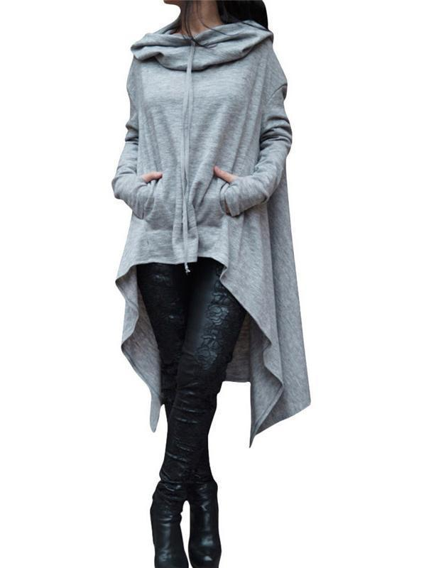 Solid Color Irregular Long Hooded Sweater light_gray m