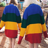 Rainbow Retro Street Loose Striped Gradient Knitting Sweater