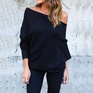 Open Shoulder  Plain  Sweaters black 2xl