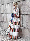Round Neck Half Sleeve Color Block Casual Dress same_as_photo l