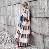 Round Neck Half Sleeve Color Block Casual Dress same_as_photo m