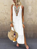 Sexy Side Split V Neck  Printed Sleeveless Casual Dresses white m