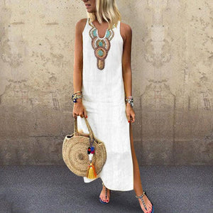 Sexy Side Split V Neck  Printed Sleeveless Casual Dresses white 3xl