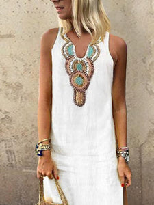 Sexy Side Split V Neck  Printed Sleeveless Casual Dresses white 2xl