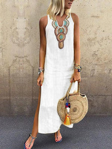 Sexy Side Split V Neck  Printed Sleeveless Casual Dresses white l
