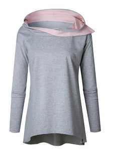 Fashion Loose Hooded Irregular Casual Sweater pink l