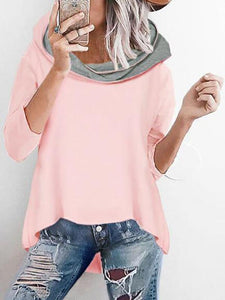 Fashion Loose Hooded Irregular Casual Sweater pink m