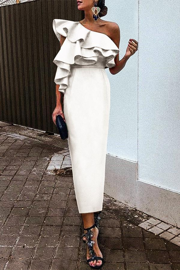 White Chic Ruffles One-Shouldered Bodycon Dress white s