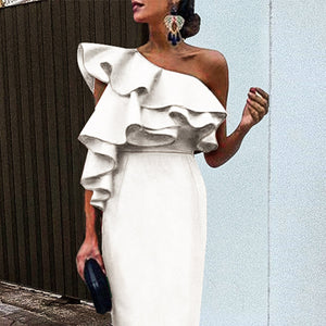 White Chic Ruffles One-Shouldered Bodycon Dress white xl