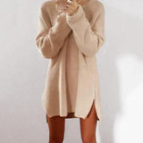 Round Collar Casual Long Sleeve Oversized Sweater pink l