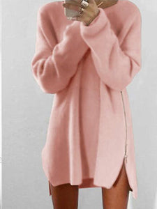 Round Collar Casual Long Sleeve Oversized Sweater pink xl