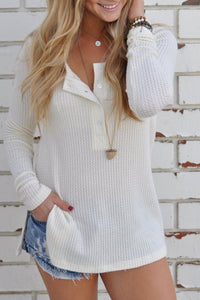 Loose Knitted Long Sleeve Jumper Sweater white s