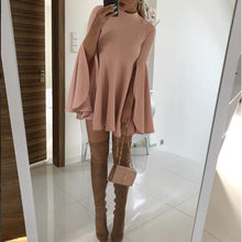Fashion Split Bell Sleeve Mini Dresses