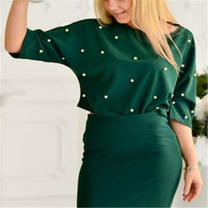 Fashion Loose Round Neck Pearl Top Bodyocn Skirt Suit green s