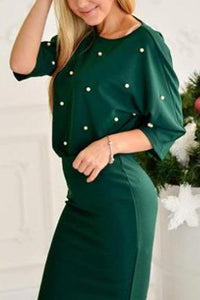 Fashion Loose Round Neck Pearl Top Bodyocn Skirt Suit green xs