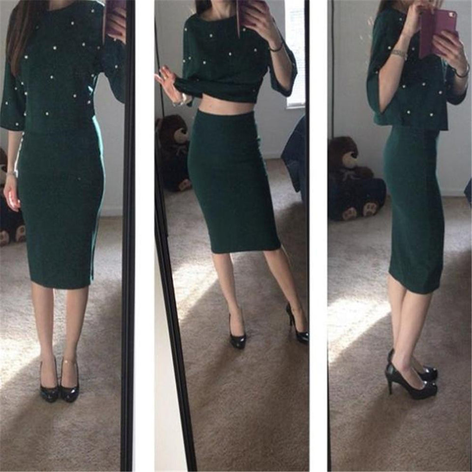 Fashion Loose Round Neck Pearl Top Bodyocn Skirt Suit green m