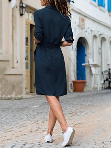 Lapel Solid Color Long Sleeve Shirt Shift Dress blue xl