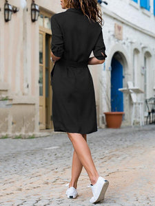Lapel Solid Color Long Sleeve Shirt Shift Dress black s