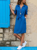Lapel Solid Color Long Sleeve Shirt Shift Dress sky_blue m