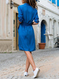 Lapel Solid Color Long Sleeve Shirt Shift Dress sky_blue l