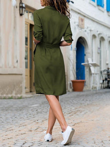 Lapel Solid Color Long Sleeve Shirt Shift Dress black xl