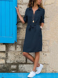 Lapel Solid Color Long Sleeve Shirt Shift Dress blue m
