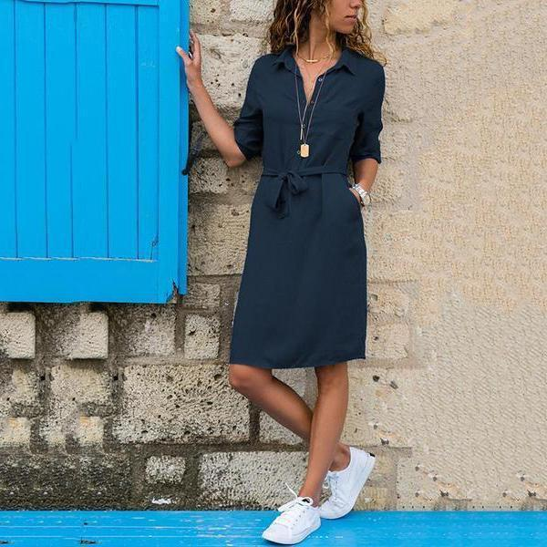 Lapel Solid Color Long Sleeve Shirt Shift Dress blue l