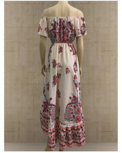 Bohemian Printing One-Piece Shoulder Flume Short Sleeve Dress