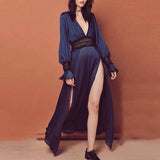 Sexy Deep V Neck Plain  Long Sleeve Maxi Dress dark_navy m