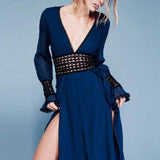 Sexy Deep V Neck Plain  Long Sleeve Maxi Dress dark_navy l