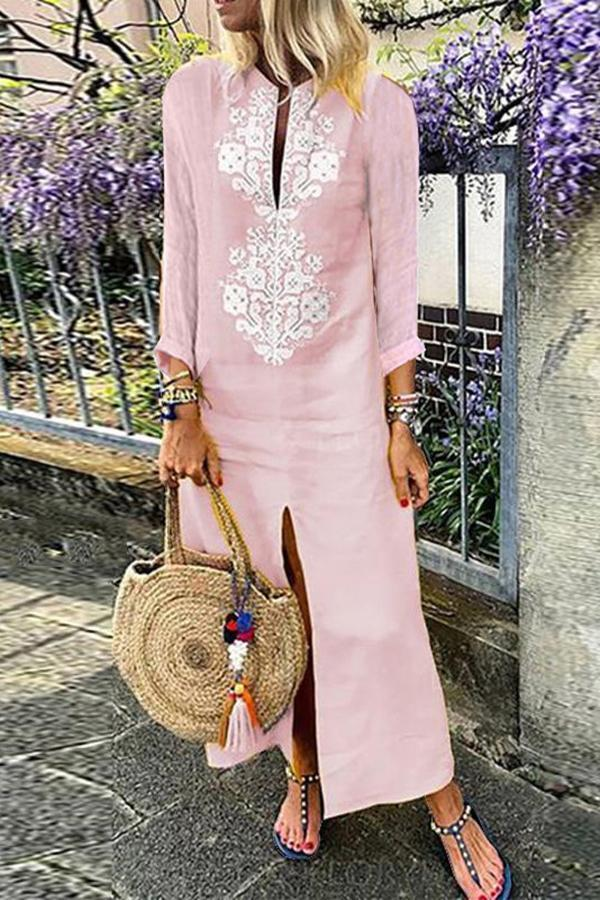 Casual Cotton Linen Long Sleeves Vintage Dress pink m
