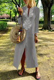 Casual Cotton Linen Long Sleeves Vintage Dress light blue s