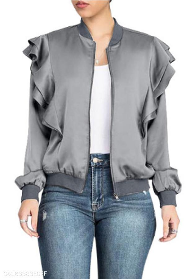 Band Collar  Flounce  Plain Jackets gray m