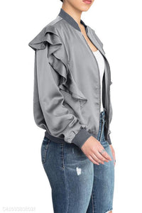 Band Collar  Flounce  Plain Jackets gray l