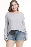 Long Sleeve Round Neck Loose Plus Size Fat Women's T-Shirt gray xl